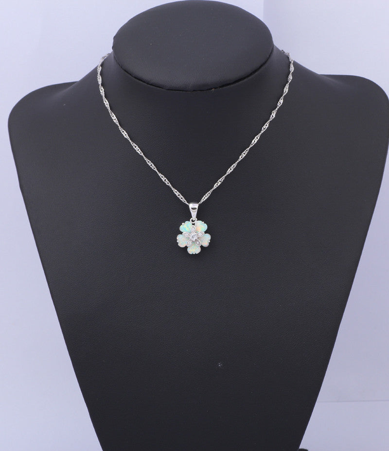 White Fire Opal Flower Necklaces