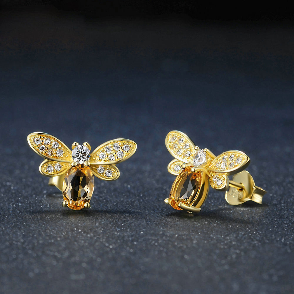 Bee Oval Cut Created Yellow Citrine Earrings