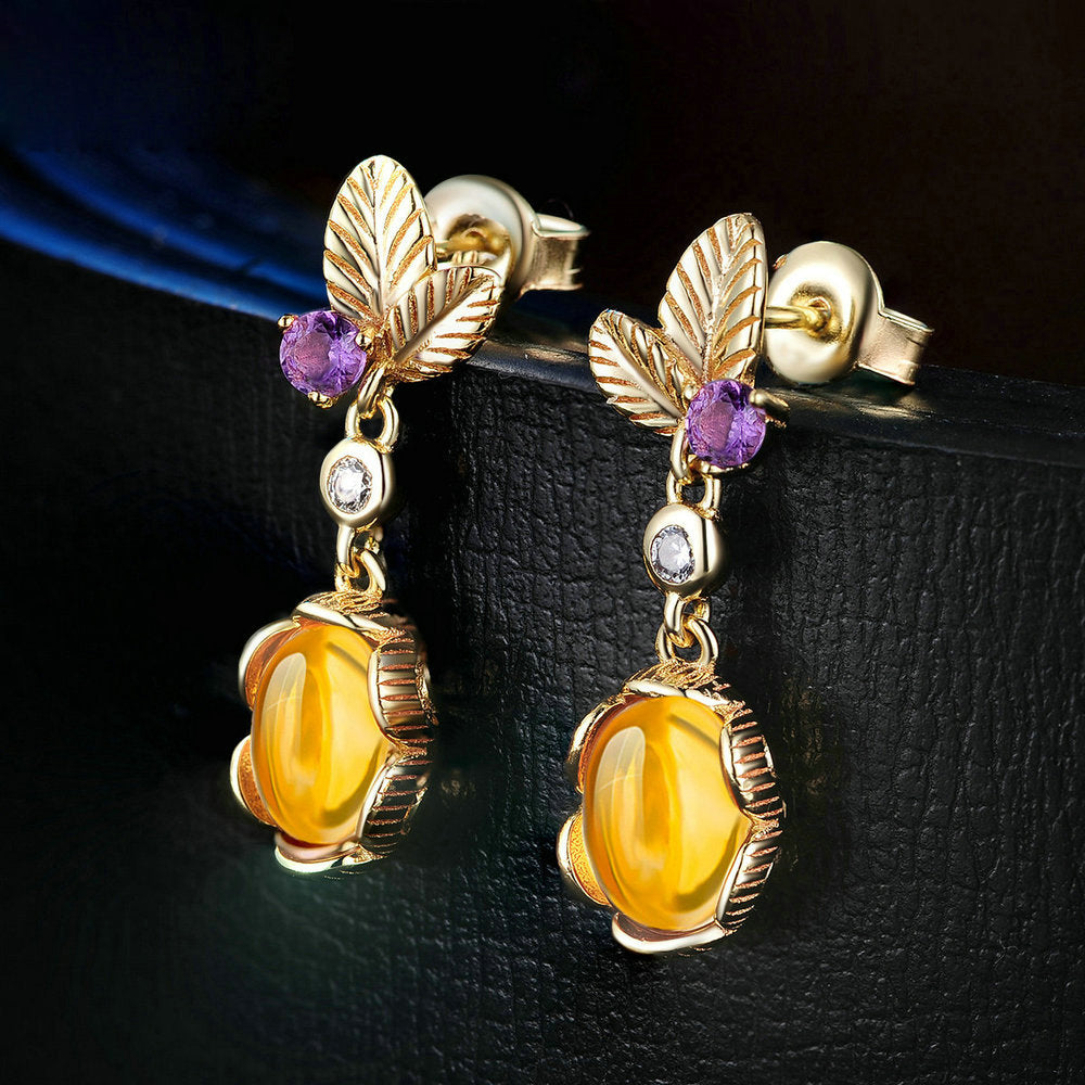 Oval Cut Created Citrine Jewelry Set