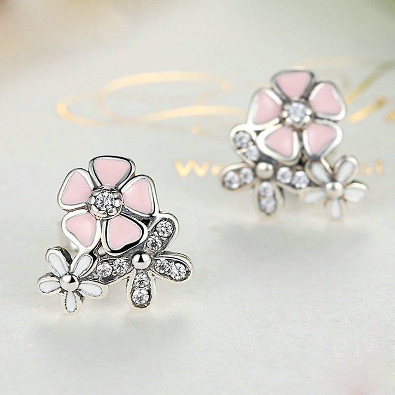 Pink Flower Silver Earrings