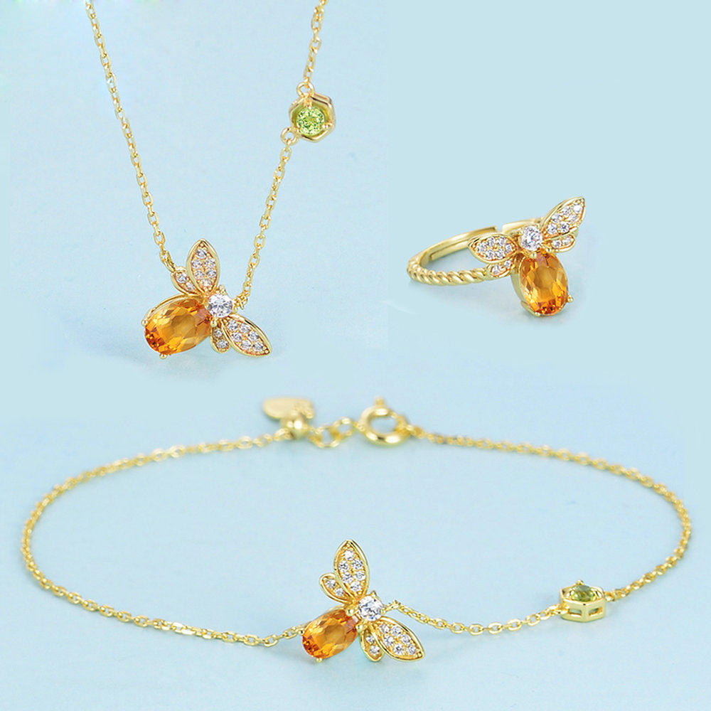 Bee Oval Cut Created Yellow Citrine Jewelry Set
