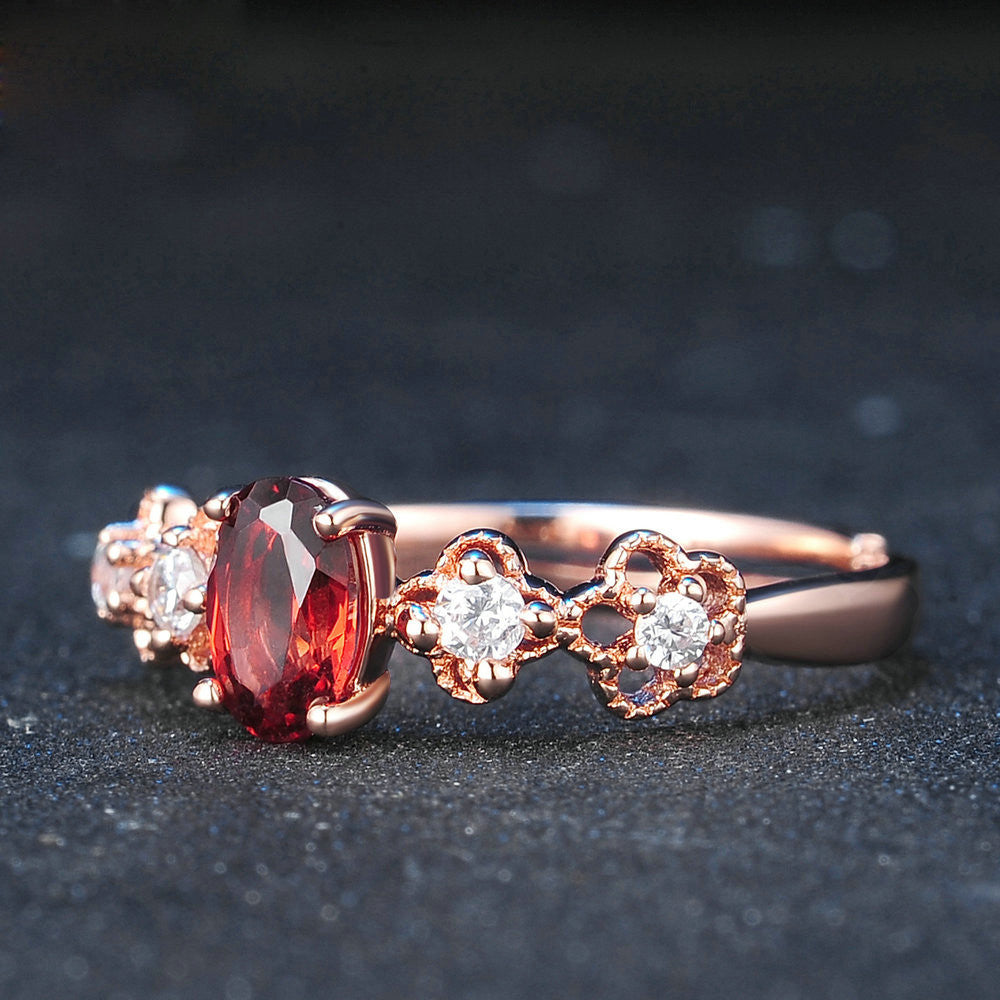 Oval Cut Created Red Garnet Ring