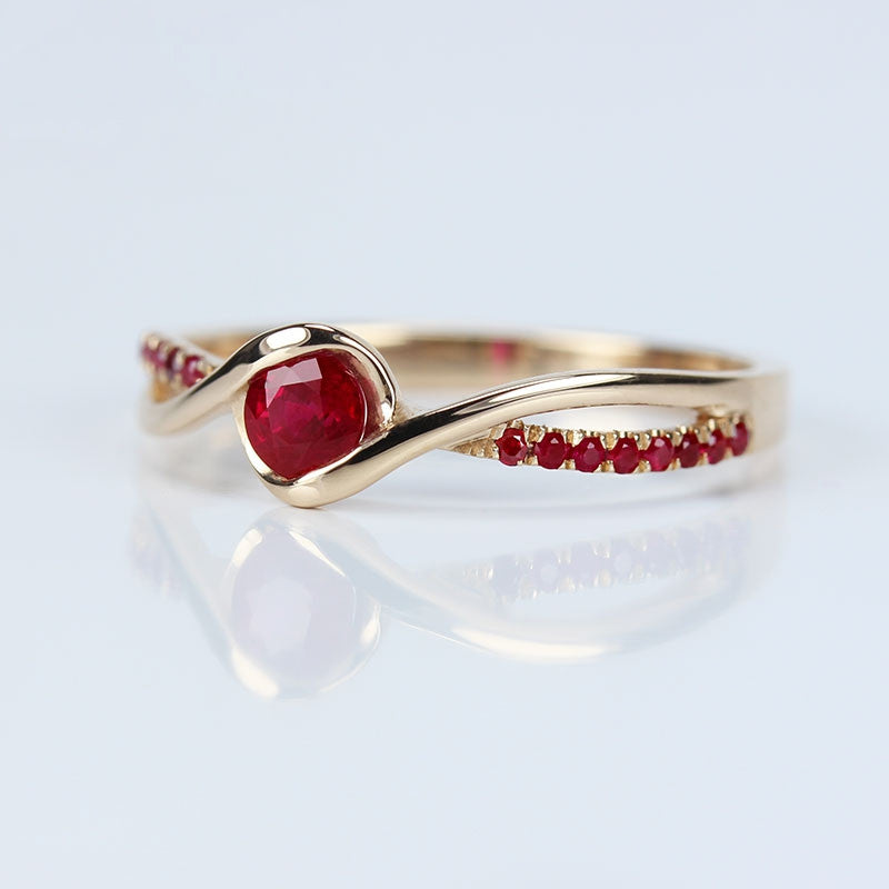 Red Ruby With 18K Rose Gold Ring