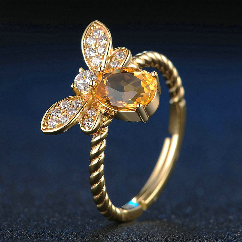 Bee Oval Cut Created Yellow Citrine Ring (adjustable to fit any finger)