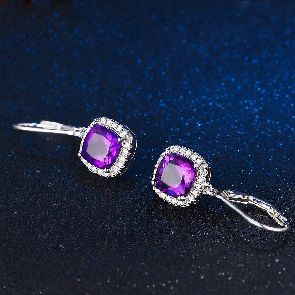 Cushion Cut Created Purple Amethyst Earrings