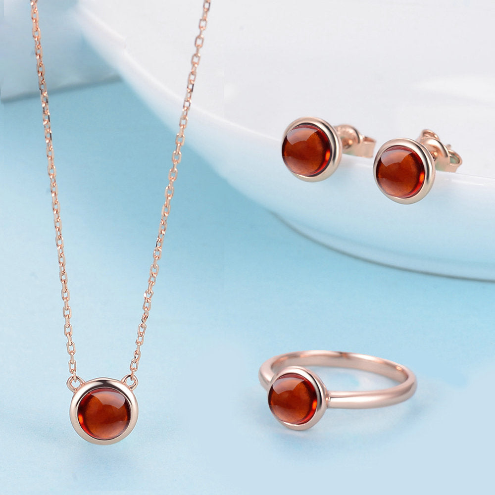 Round Cut Created Orange Red Garnet Jewelry Set