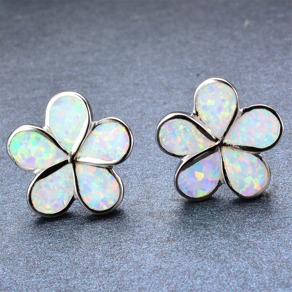 Fire Opal Flower Stud Earrings