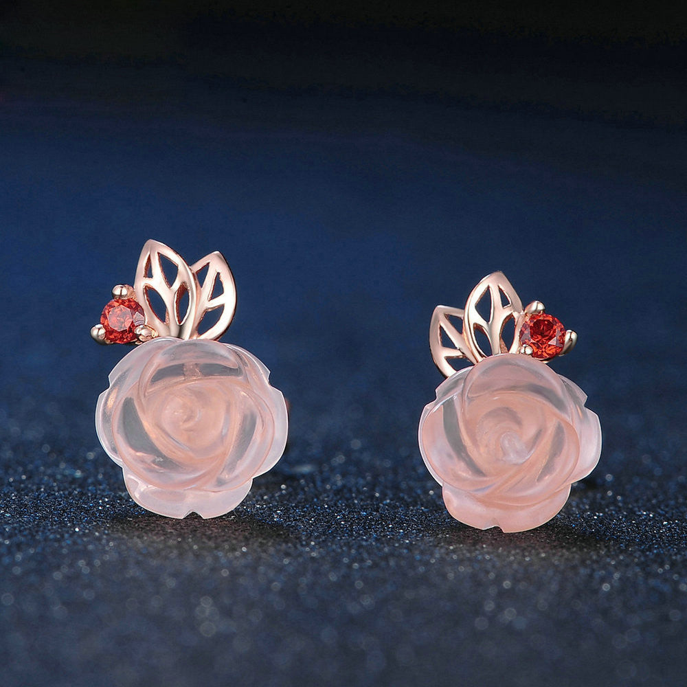 Rose Flower Cut Created Rose Quartz Stud Earrings