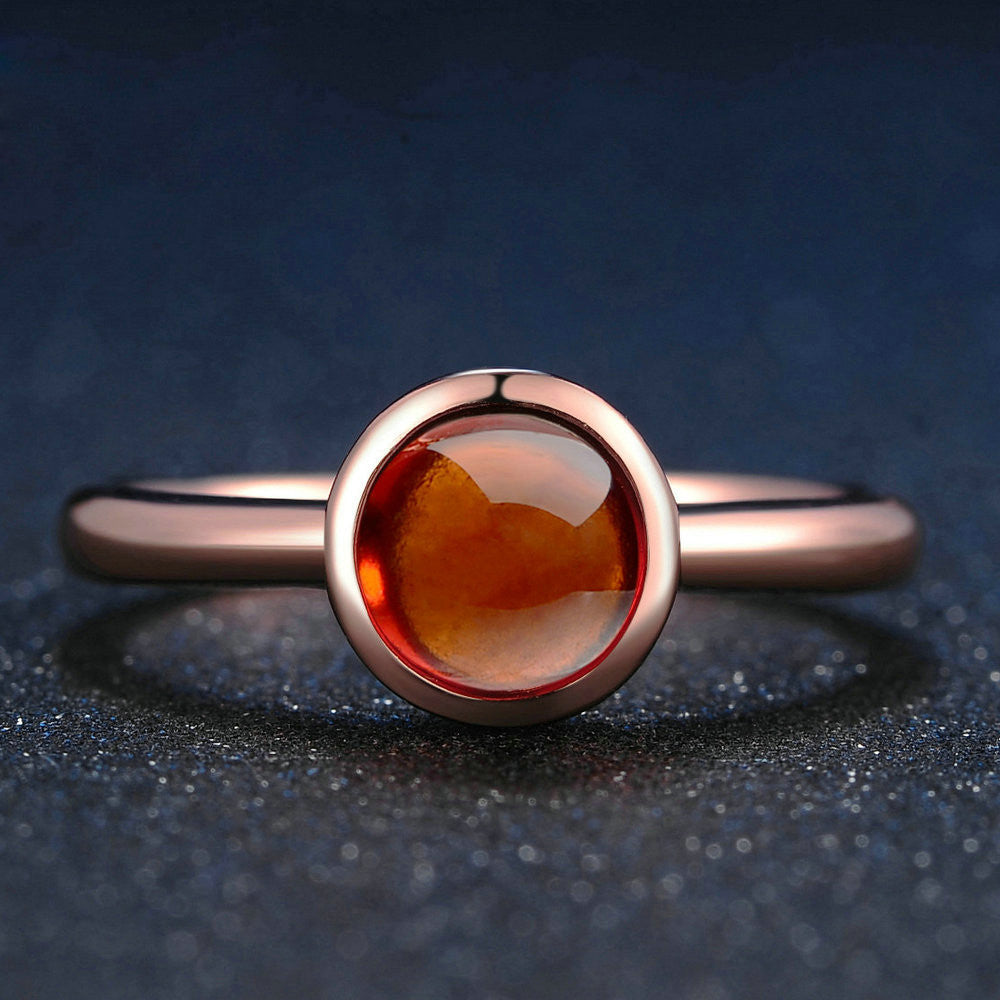 Round Cut Created Red Garnet Ring