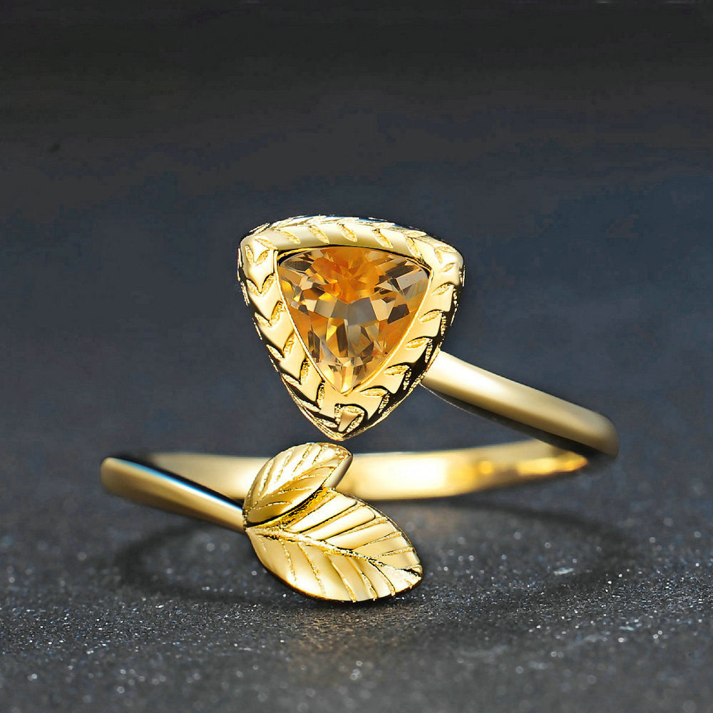 Triangle Cut Created Citrine Ring