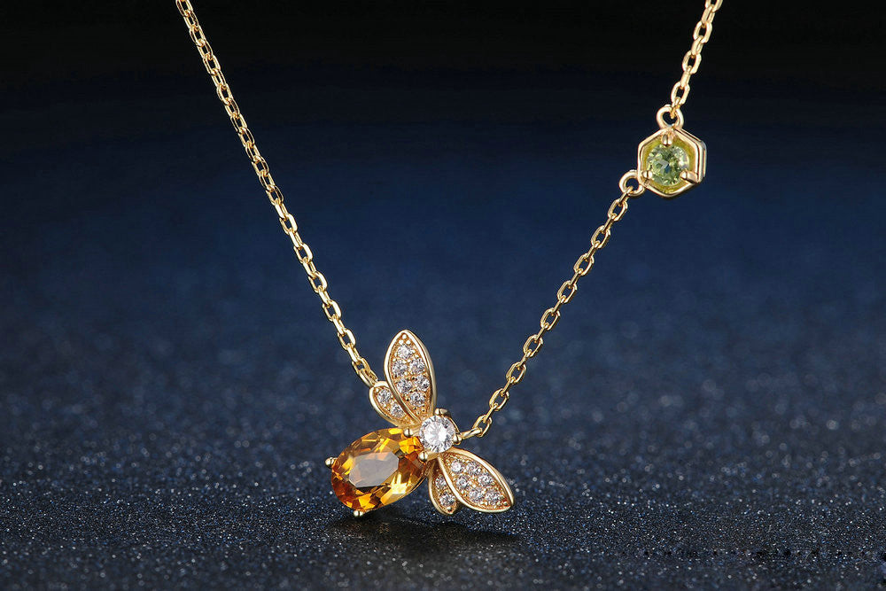 Bee Oval Cut Created Yellow Citrine Necklace