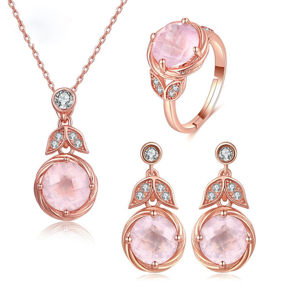 Round Cut Created Pink Rose Quartz Jewelry Set
