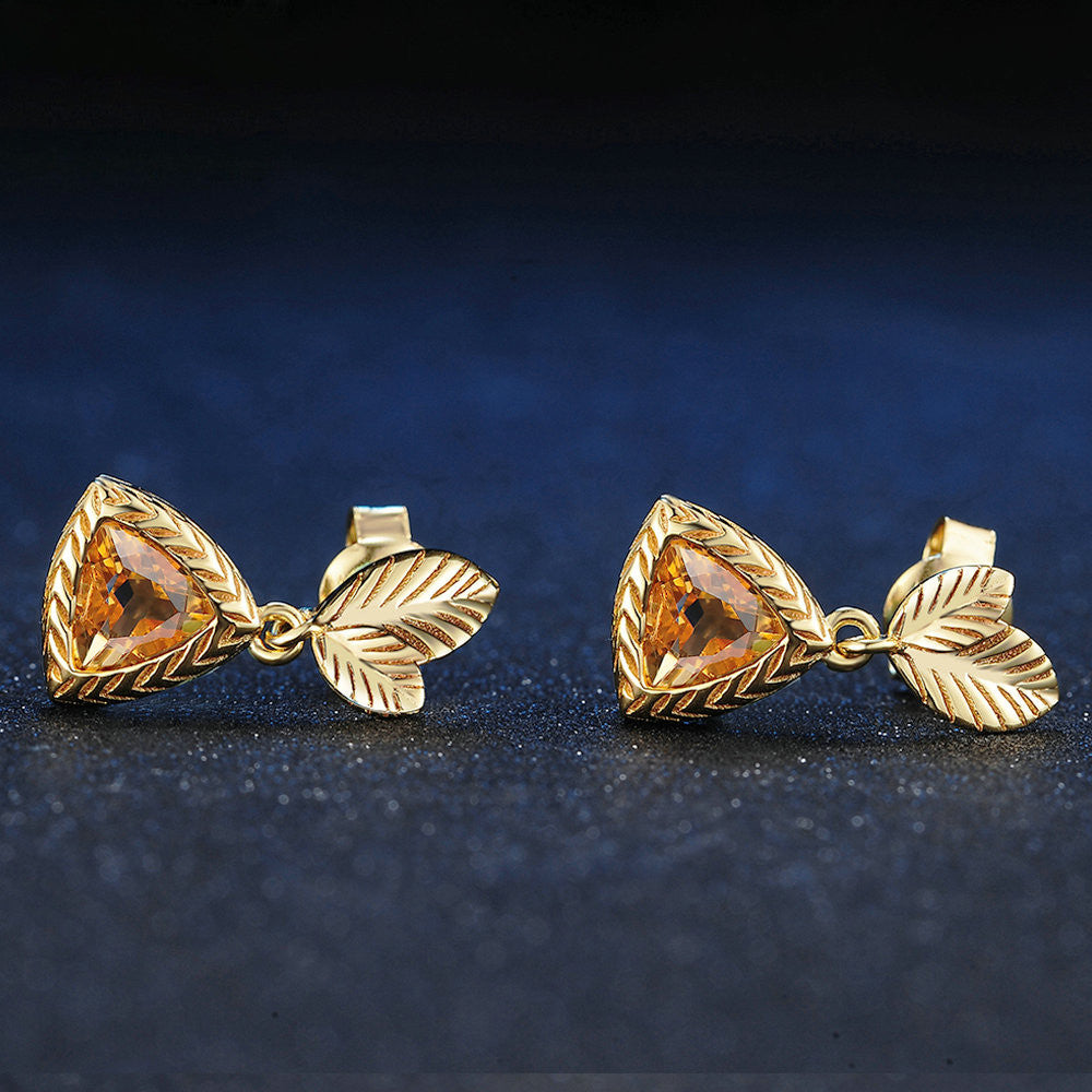 Triangle Cut Created Citrine Earrings