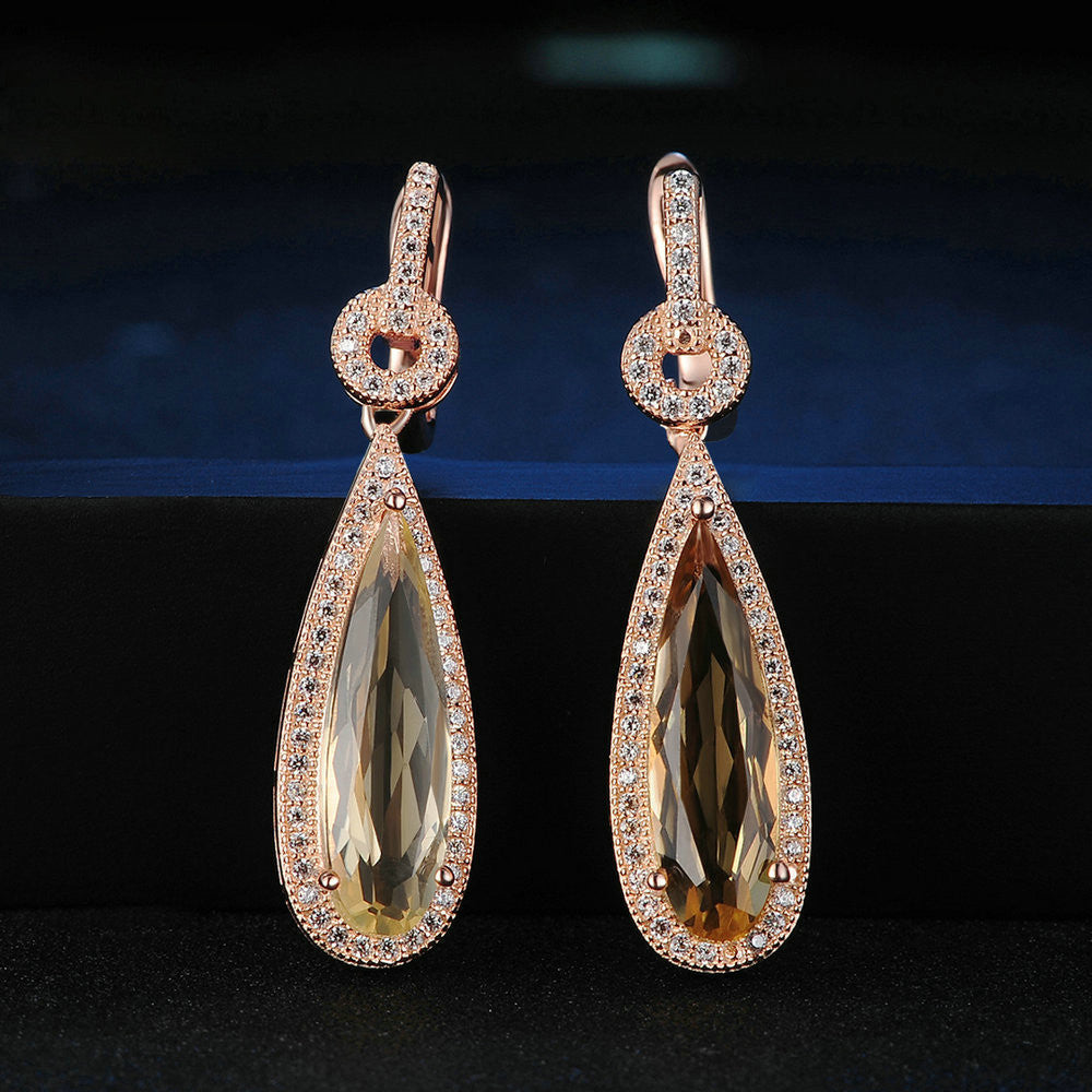 Tear Drop Cut Created Citrine Earrings