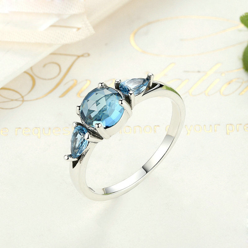 Round Cut Created Aquamarine Ring