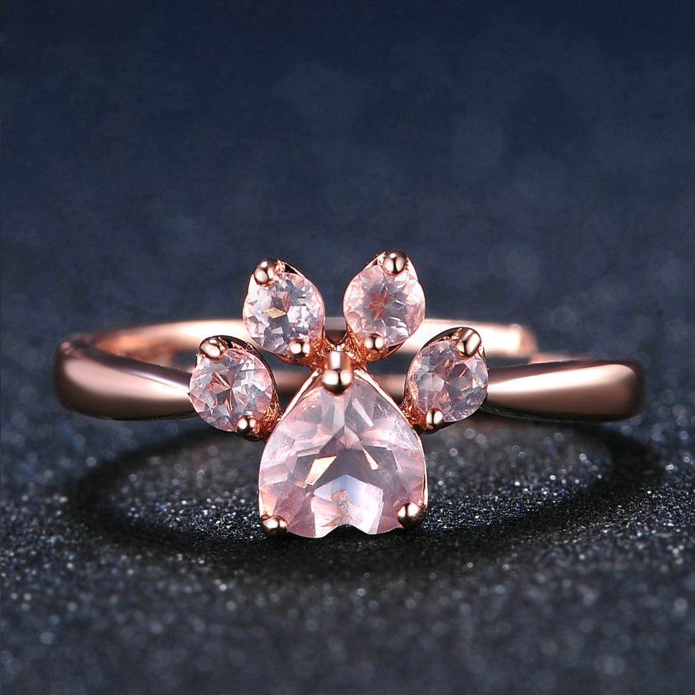 Cutest Paw Cut Created Natural Rose Quartz Ring (adjustable to fit any finger)