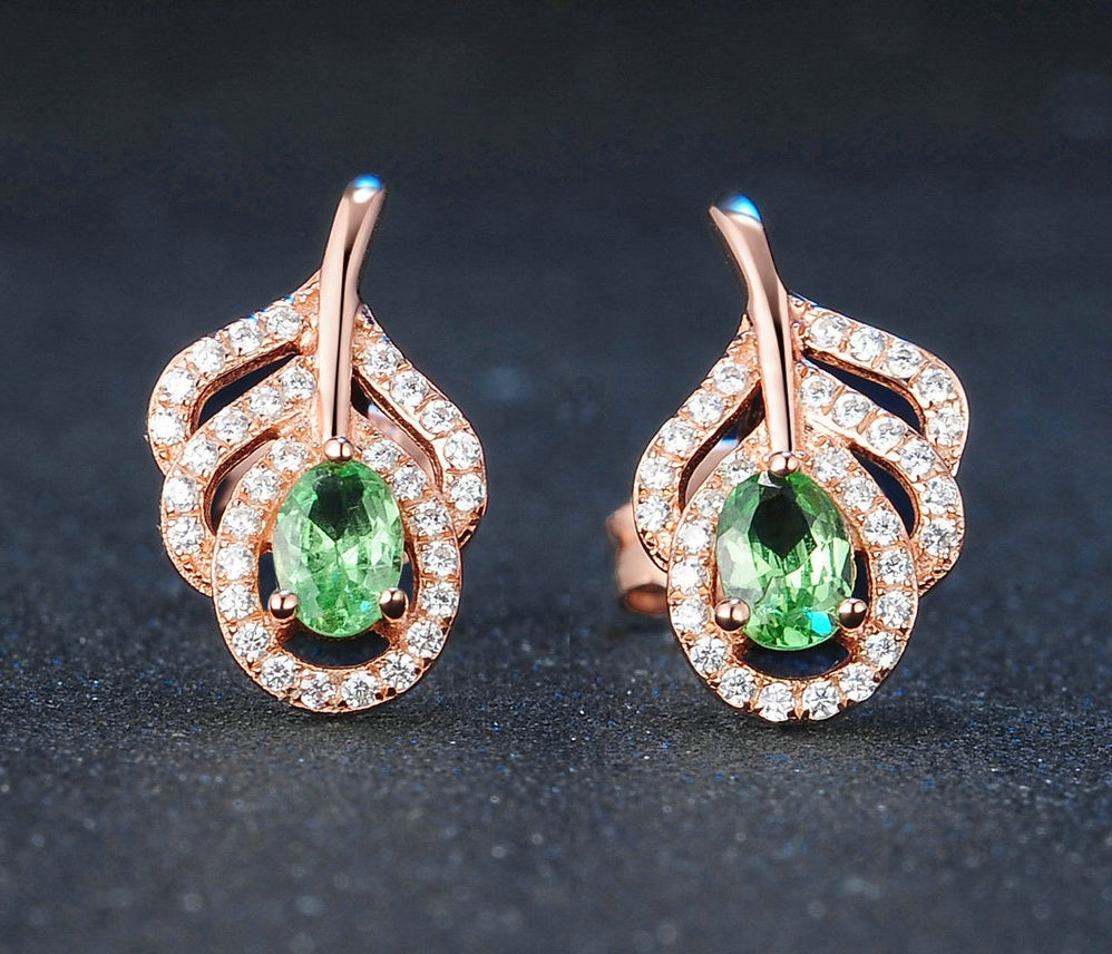 Cutest Leaf Shape Stud Earing Created By Natural Green Peridot