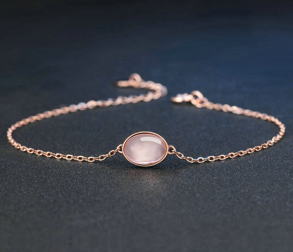 Oval Crystal Created Pink Rose Quartz Bracelet