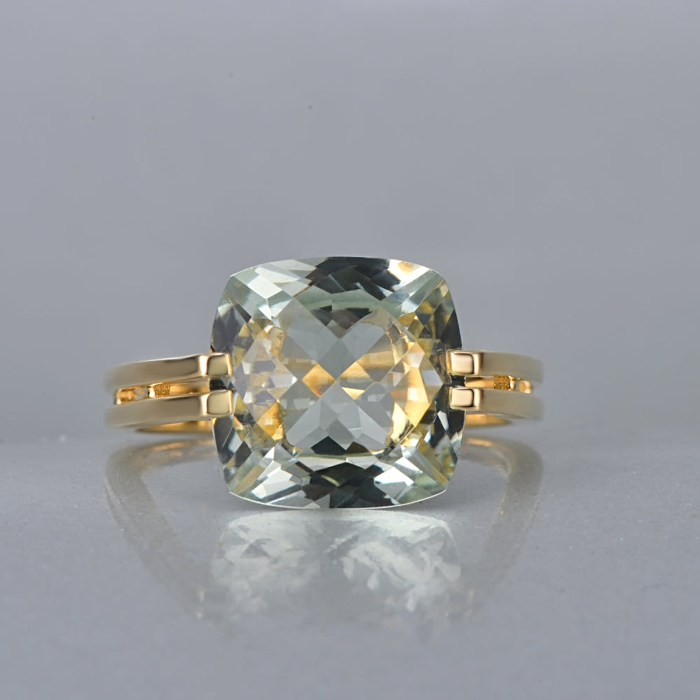 Green Amethyst With 14K Gold Ring