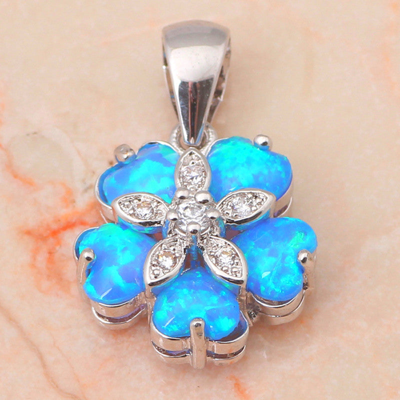 Blue Fire Opal Flower Necklaces