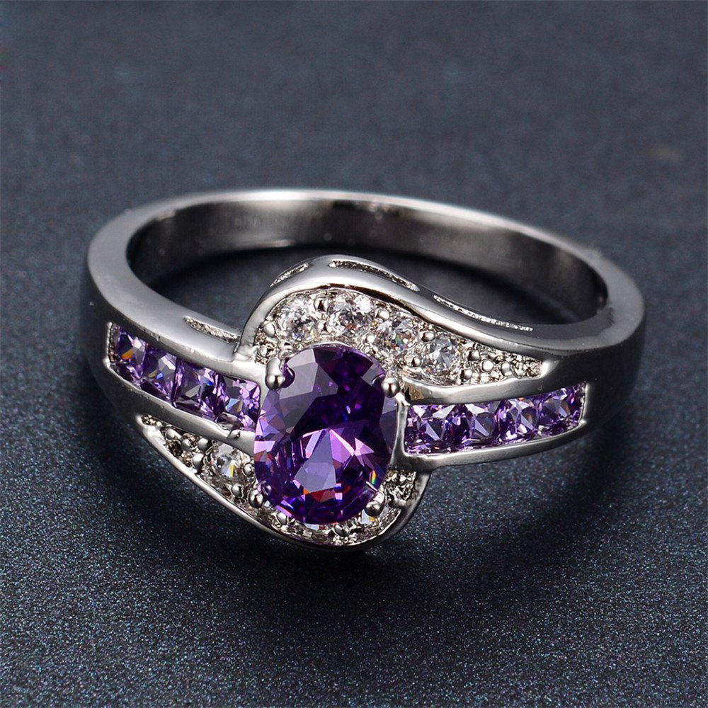 Purple Amethyst Gemstone Rings - White & Black Gold