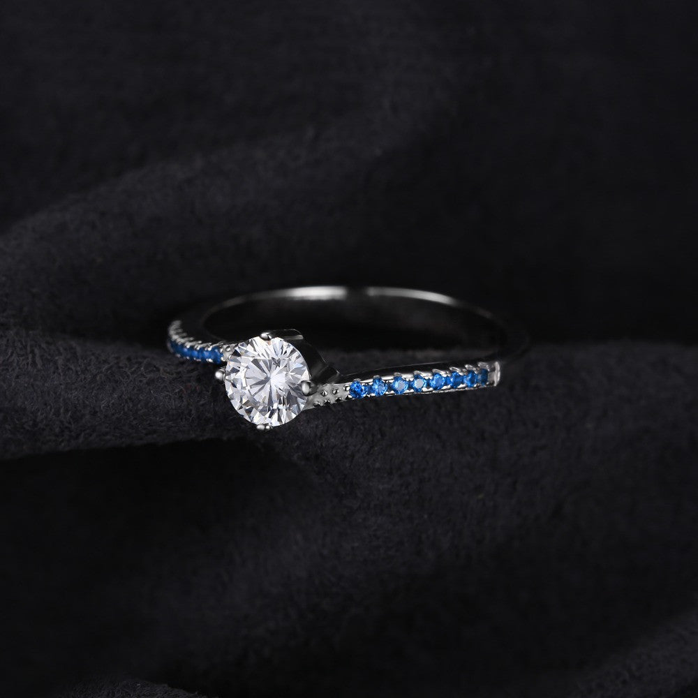 White Blue Sapphire Engagement Ring