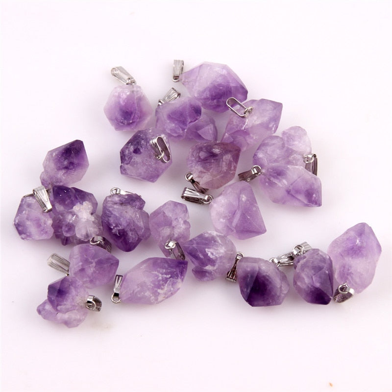 Natural Purple Amethyst Crystal Pendant