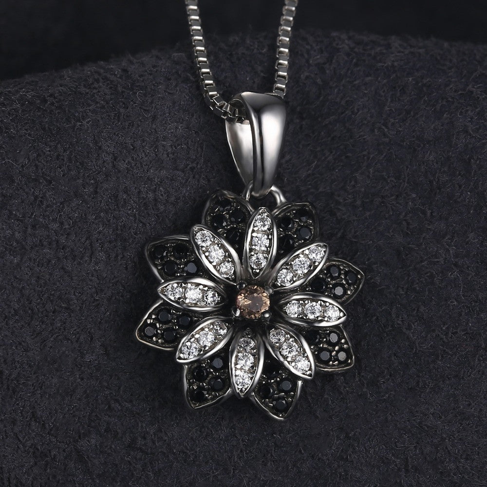 Flower Cut Created Smoky Quartz Spinel Necklace
