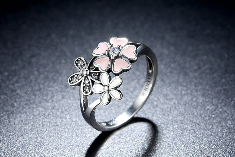 Pink Flower Silver Ring