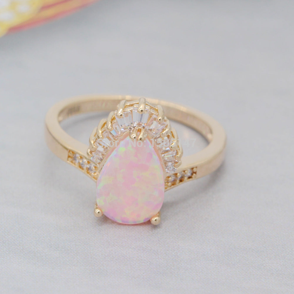 Beautiful Shining Pink Fire Opal Ring