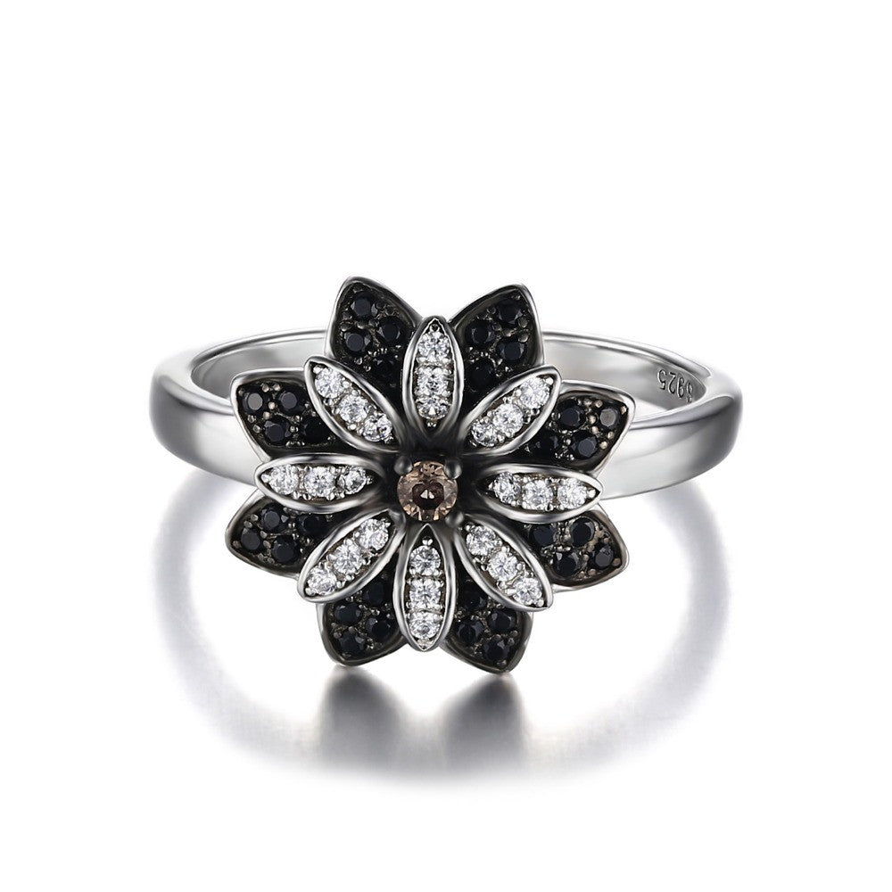 Flower Cut Created Smoky Quartz Spinel Ring