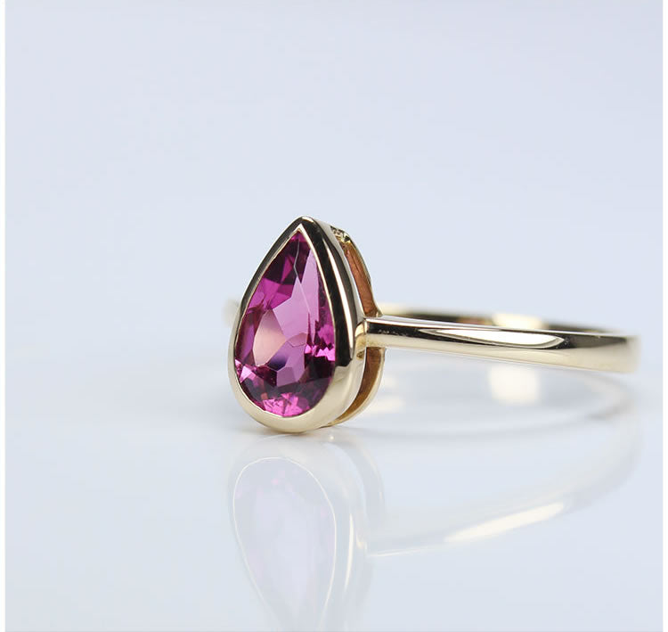 Pear Tourmaline With 18K Rose Gold Ring