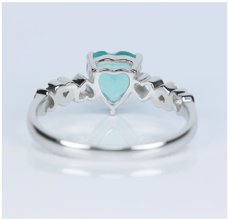 Apatite With D Flawless Diamonds 18K White Gold Ring