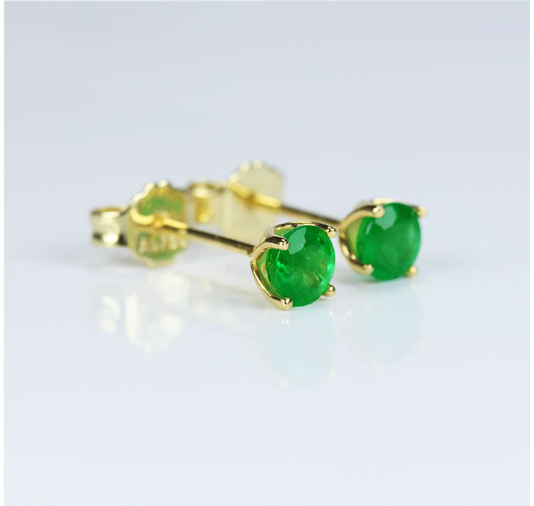 Emerald With 18K Yellow Gold Earrings