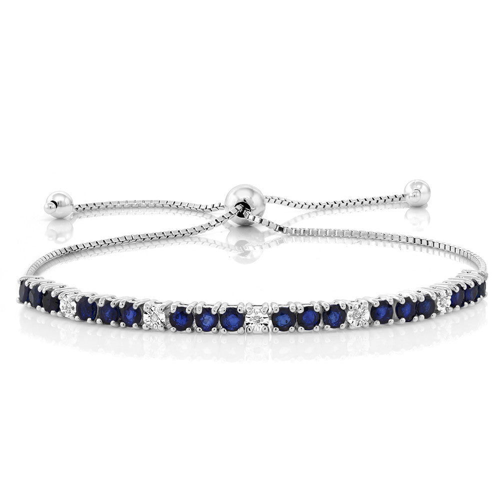 White Diamond with Blue Sapphire Bracelet