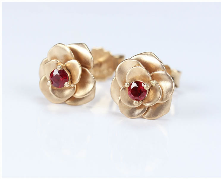 Ruby With 18K Rose Gold Earrings