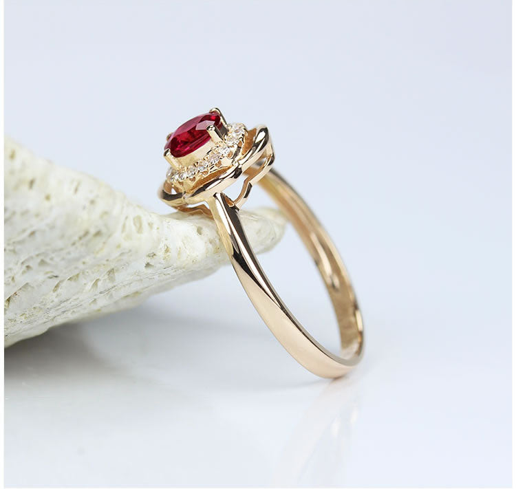 Ruby With D Flawless Diamonds 18K Rose Gold Ring