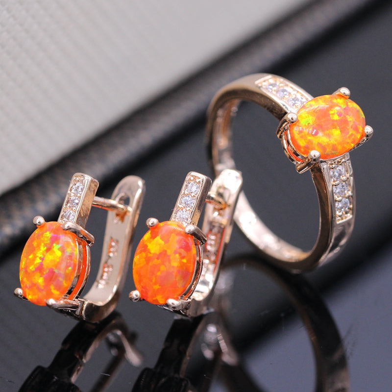Oval Cut Created Fire Opal Ring & Earing Set