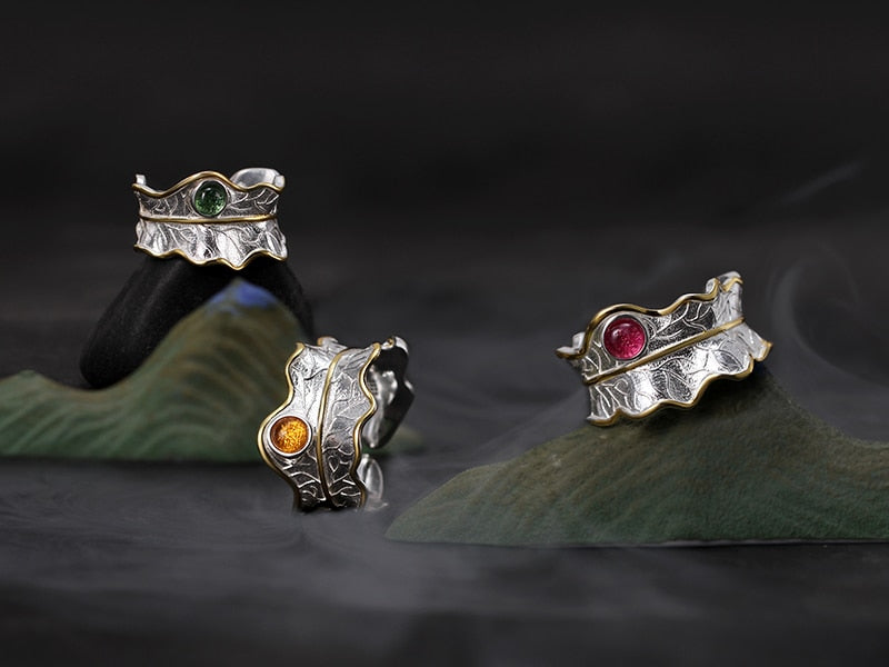 Handmade Gems Leaf Rings