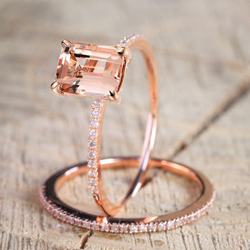 2Pcs Light Peach Zircon Rose Gold Ring