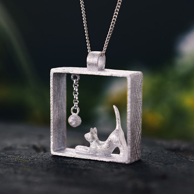 Handmade Cat Playing Ball Silver Pendant without Necklace