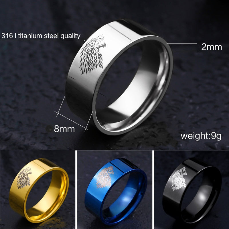 Ice Wolf Symbol Stainless Steel Rings