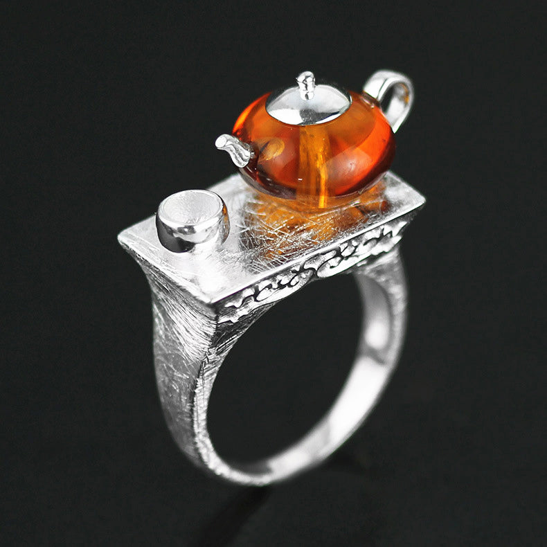 Vintage Teapot Shape Created By Amber Stone Rings