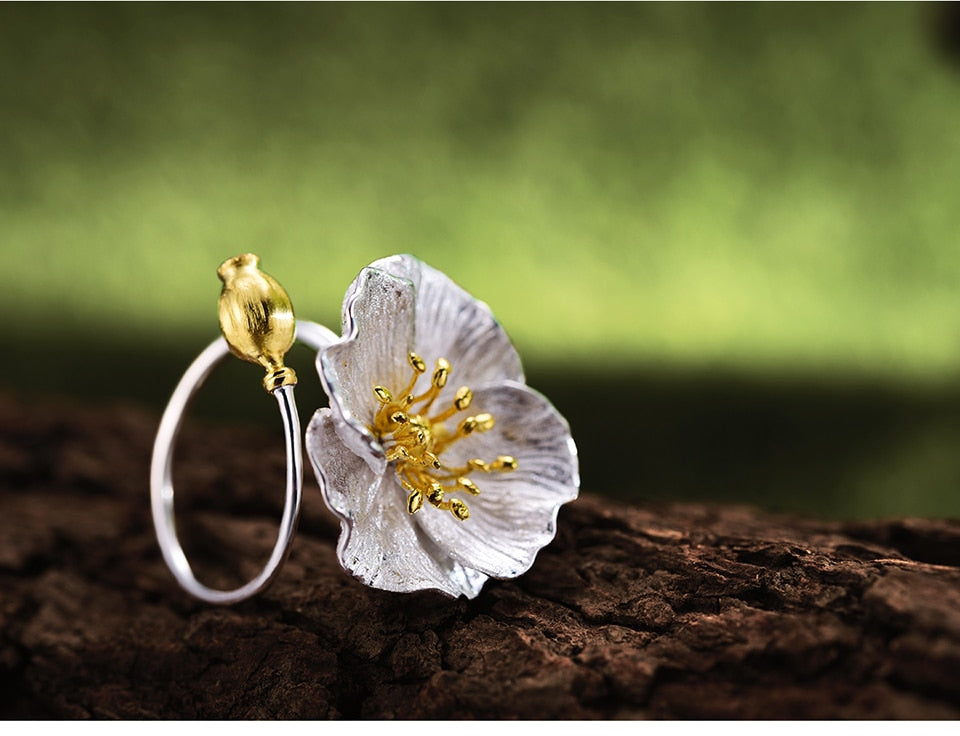 Sterling Silver Poppies Flower Rings