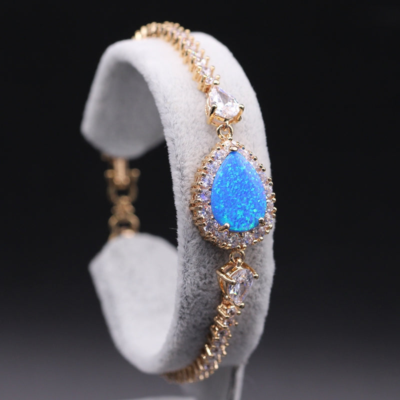 Water Drop Blue Fire Opal Bracelet