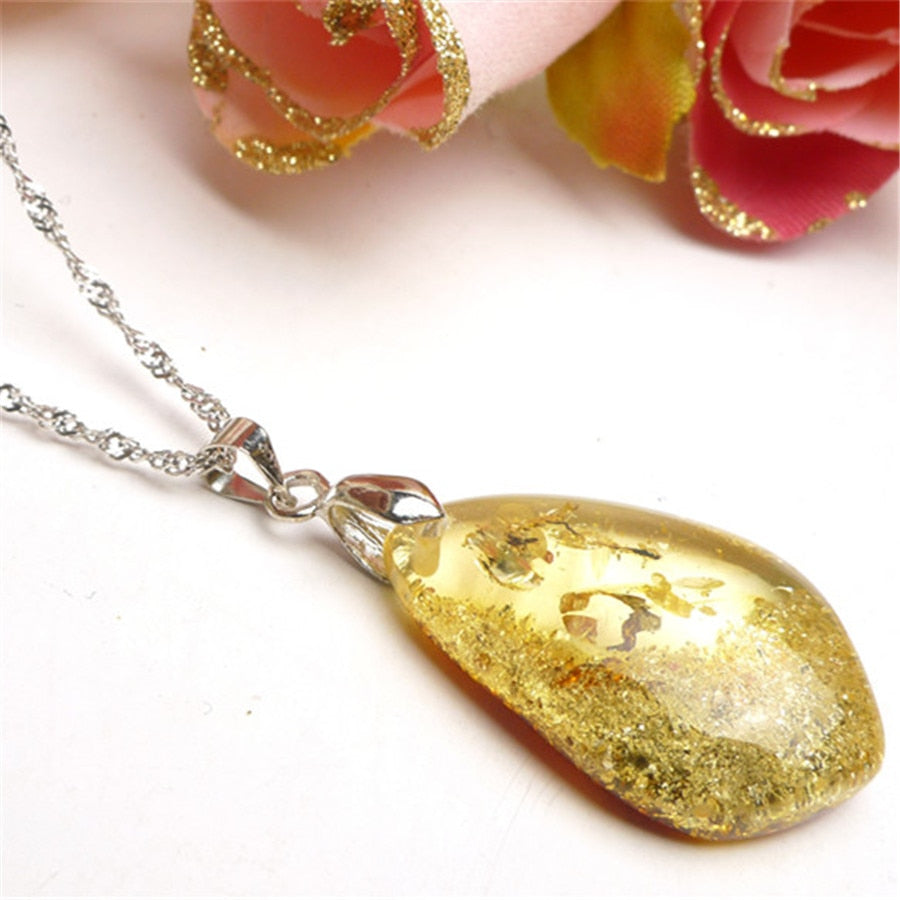 Water Drop Shaped Nature Golden Amber Pendant
