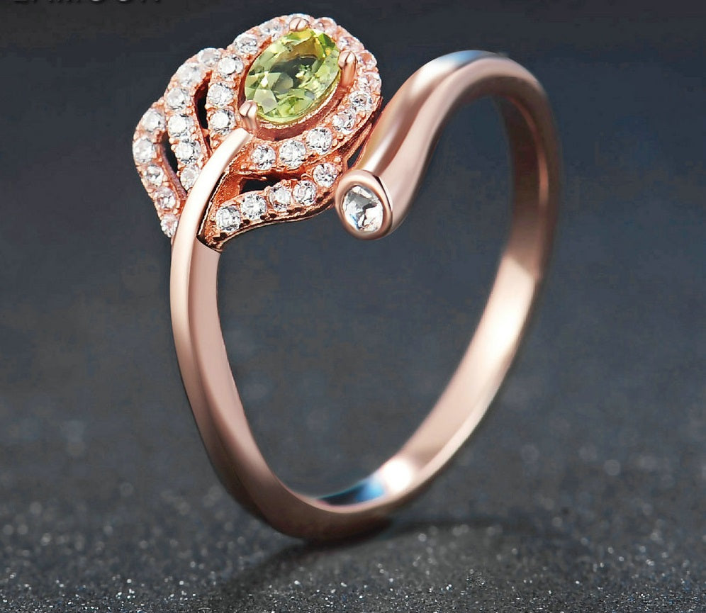 Cutest Leaf Shape Ring Created By Natural Green Peridot (Adjustable fit to any finger)