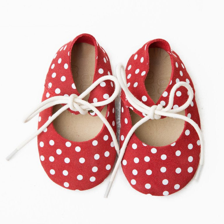 Mary Janes  -  Red + White Suede Polka Dot