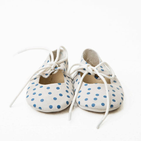 Mary Janes  -  Ecru + Royal Blue Suede Polka Dot