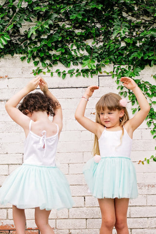 Bella Tutu Dress – White / Spring Mint